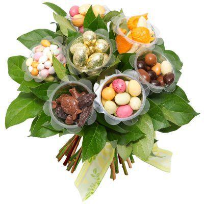 123fleurs : Bouquet de Pâques en chocolat et bonbons