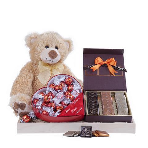 Floraqueen : Cadeaux d'amour / chocolats et 1 peluche