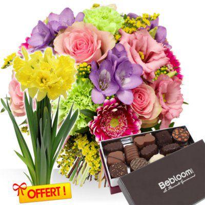 Bebloom : Bouquet Printemps accompagné d'une boîte de chocolats le Fleuriste Gourmand